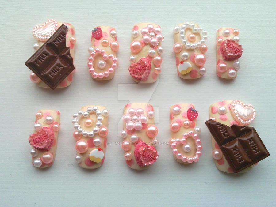 Gyaru-Hime-Lolita Nails by lemony-kitty