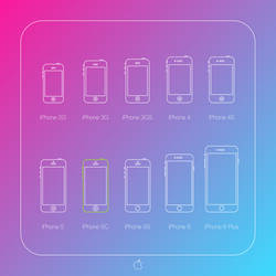 All iPhones silhouettes outline icon set. For free