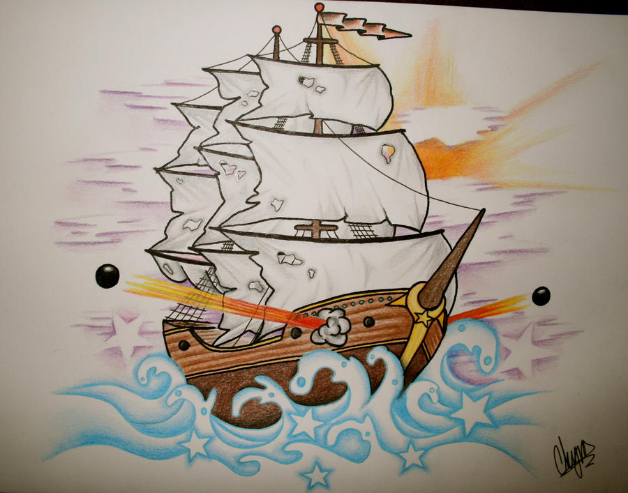 Ship Tattoo Design 2 by ~itchysack on deviantART