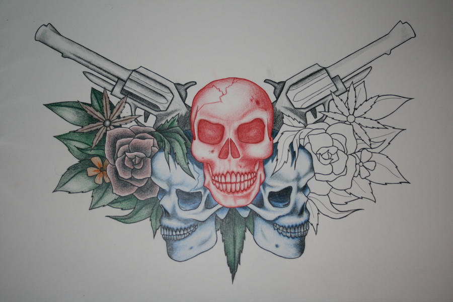 Skulls And Guns Tattoos: Skull And Guns Design By Itchysack On DeviantArt