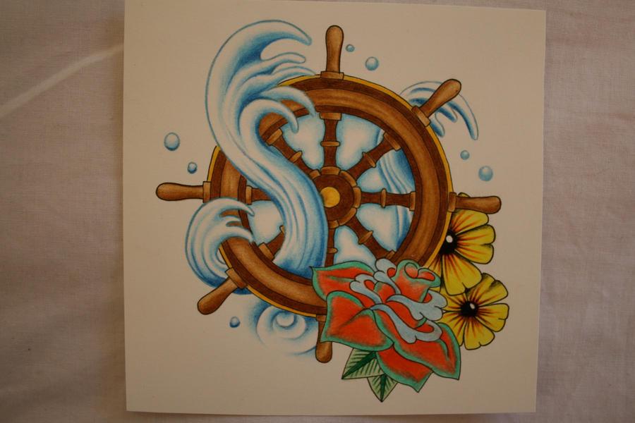 ship wheel tattoo design by itchysack on deviantart. Black Bedroom Furniture Sets. Home Design Ideas