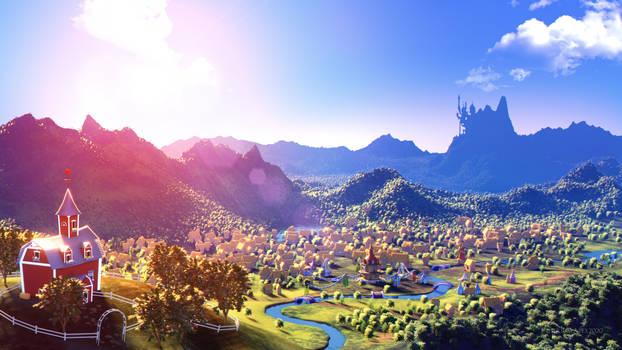Sunrise Over Ponyville (Commission)