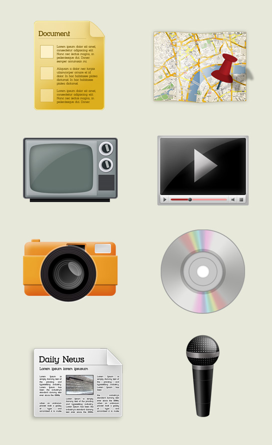 Media Icon set by bevel-and-emboss