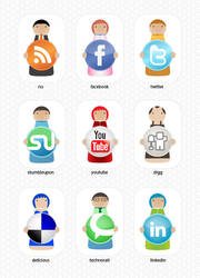 Social bookmarking character s by bevel-and-emboss