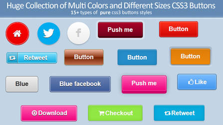 Huge Collection of Pure CSS3 Buttons by jelloul