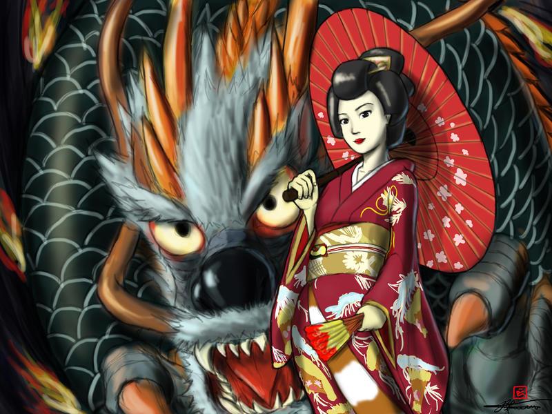 Tattoo Concept: Geisha and Dragon by reikwon