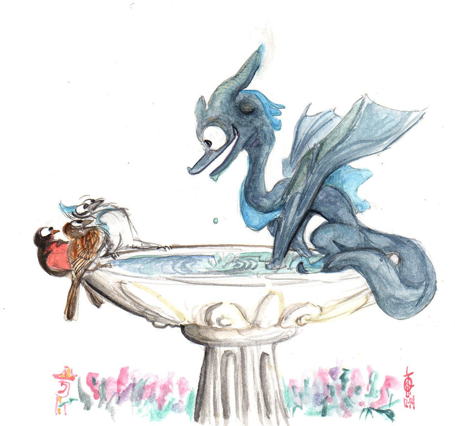 Dragon in the Birdbath by LiimLsan