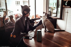 Catwoman with cats