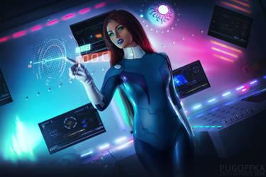 Starfire on spaceship by Kamiko-Zero