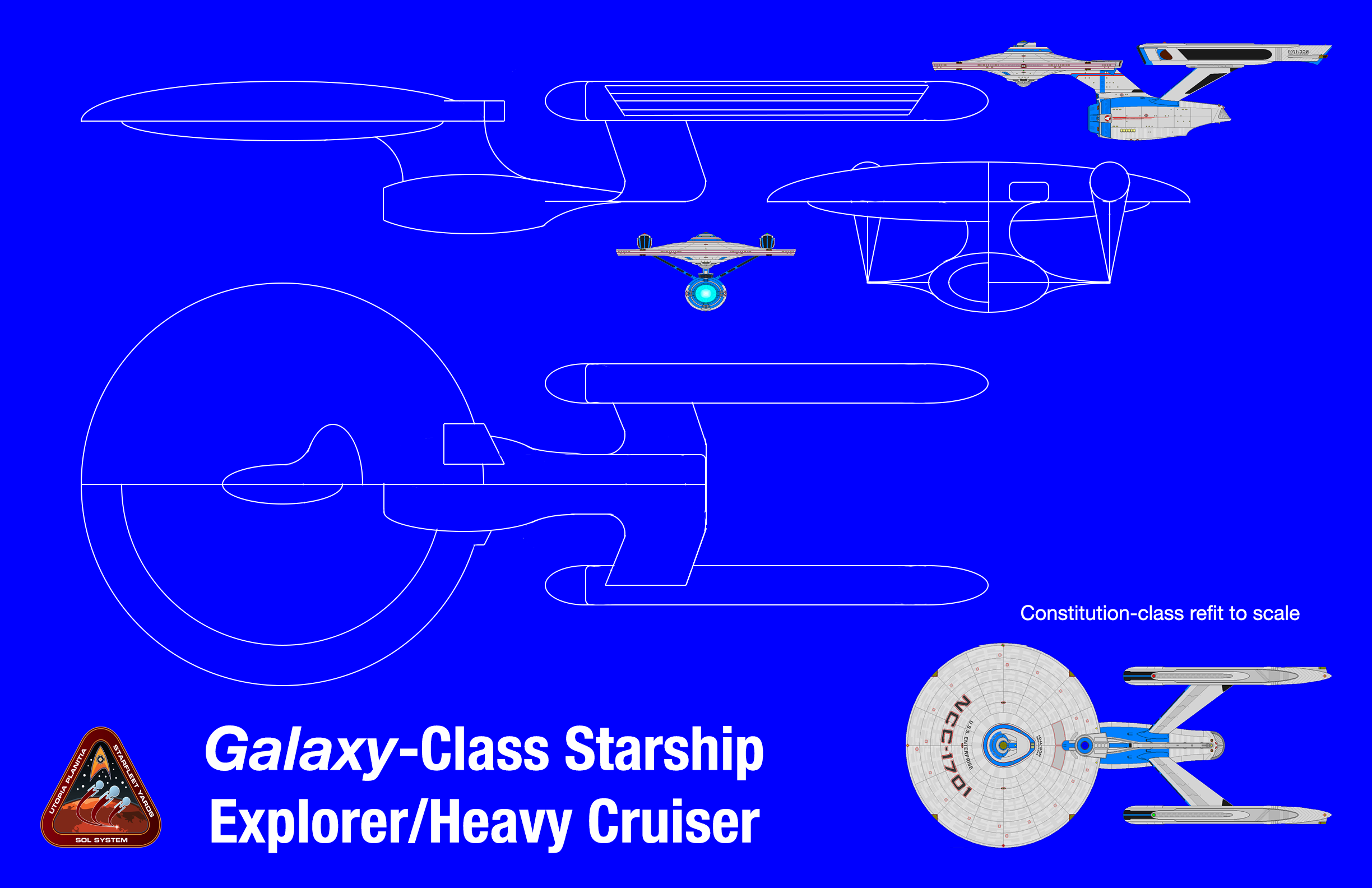 ... Galaxy Class Starship Redesign Blueprints By PeachLover94