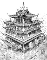 Chinese castle drawing