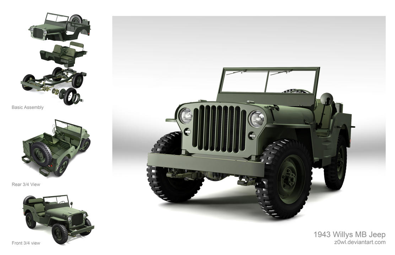 3d models willys mb jeep by z0wl on deviantart. Black Bedroom Furniture Sets. Home Design Ideas