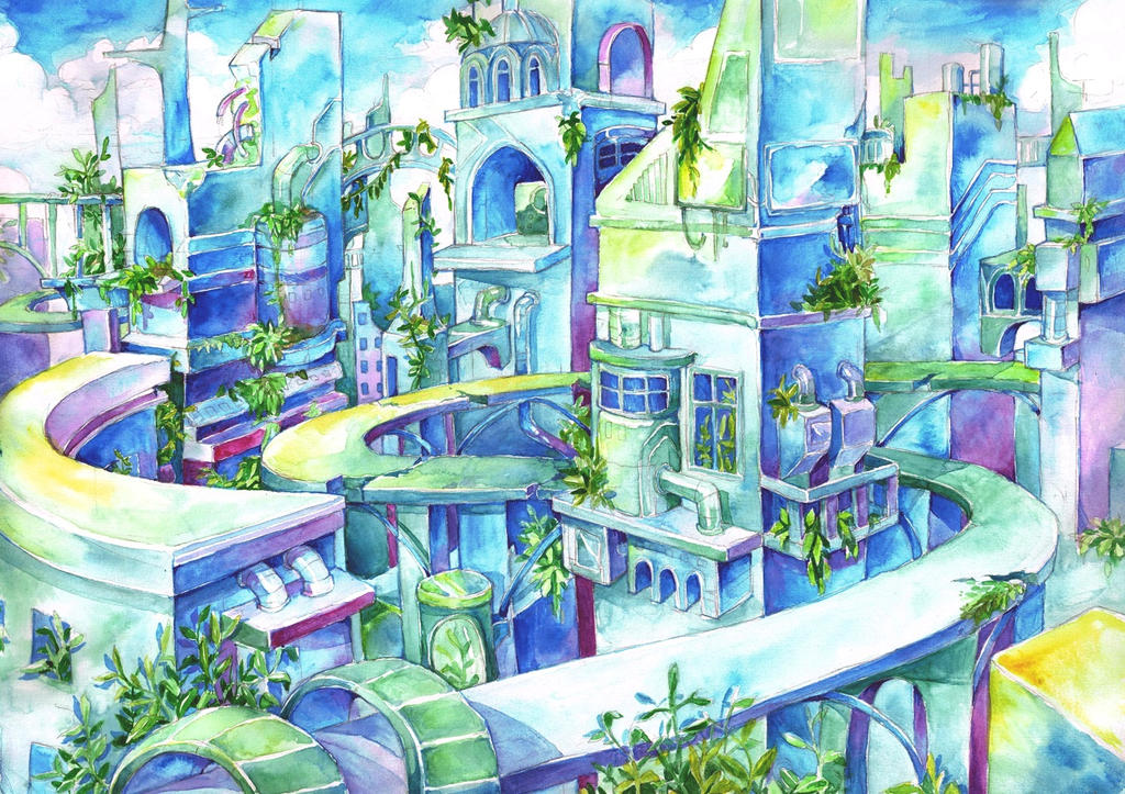 Azure city by Capilair