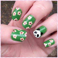 Panda and Blossom Nails by Miss-Reptilian