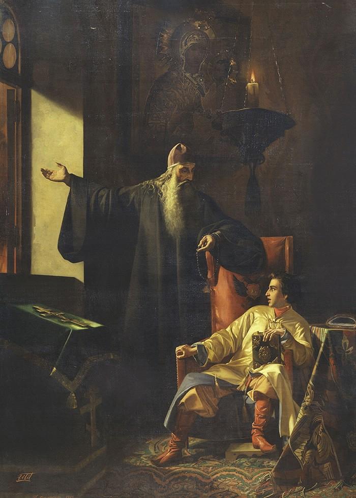 تابلو نقاشی، تزار وحشت زده و کشیش