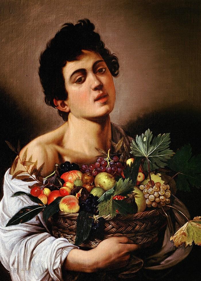 تابلو نقاشی، پسری با سبد میوه