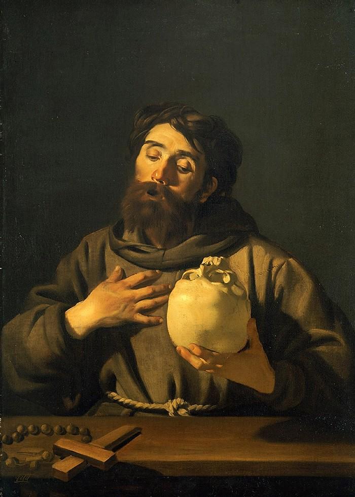 تابلو نقاشی، مرد عابد و جمجمه انسان
