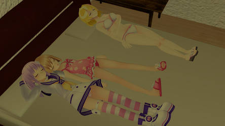 Nepgear and Rom sleeping with Licht