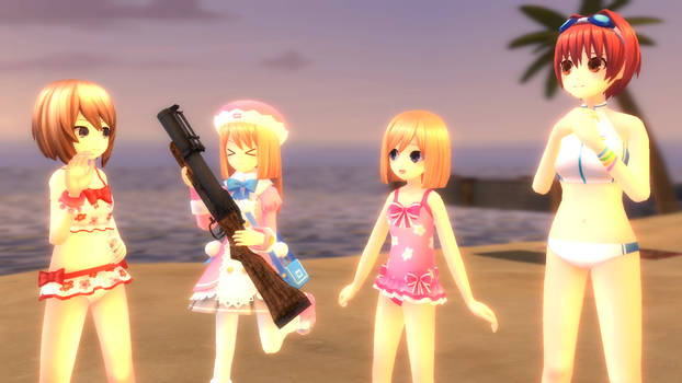 Blanc's Group in the beach