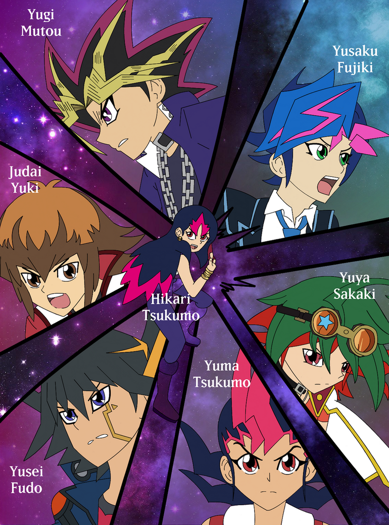 Hikari and the 6 YGO Protagonists Coloured by GalacticTachyon