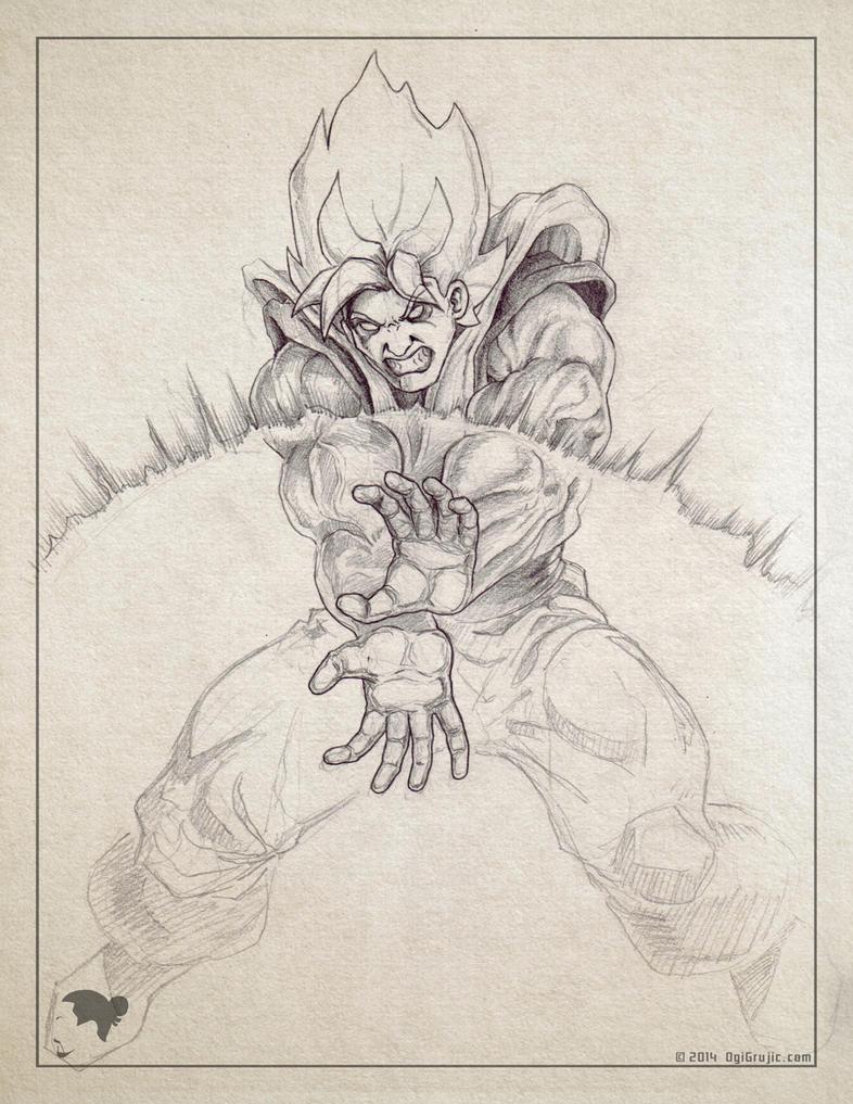 2014 07 Goku sketch by ogi-g