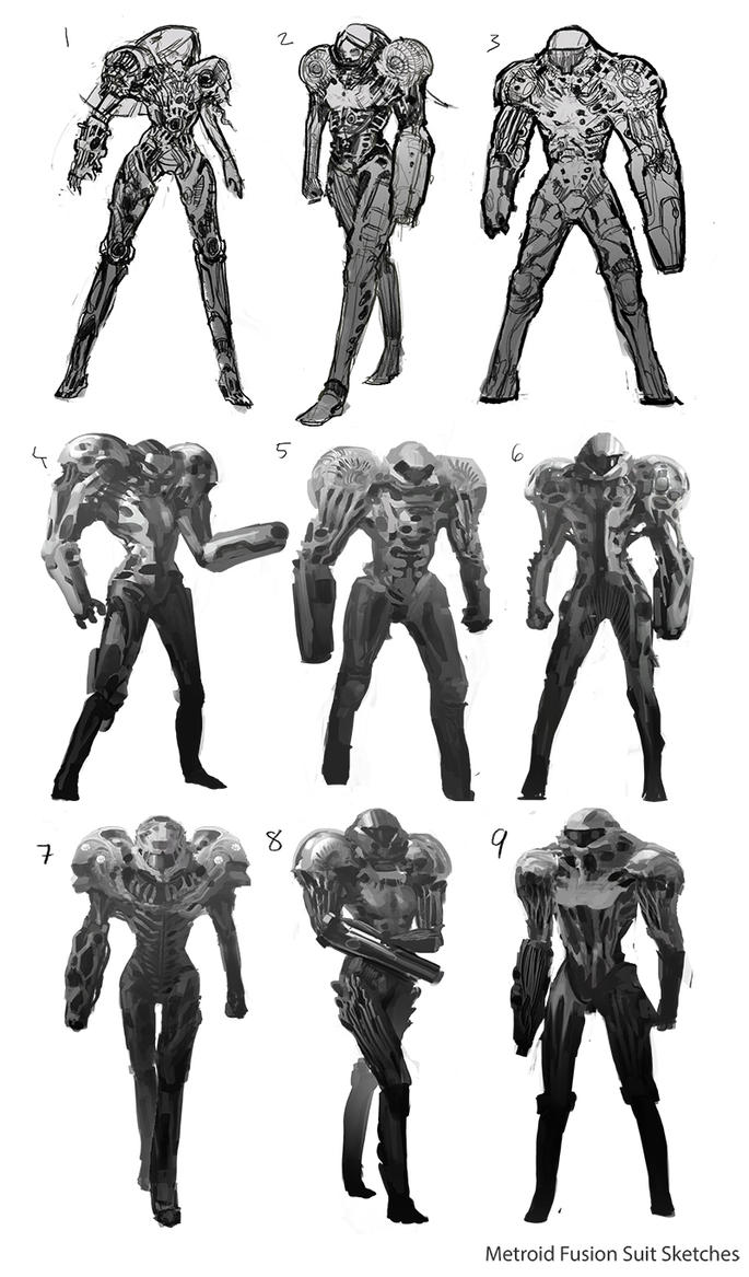 Metroid Fusion Suit Redesign Sketches By Gordontian On DeviantArt