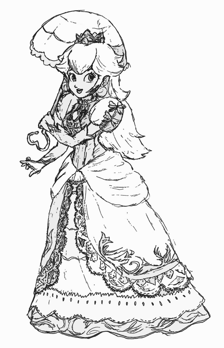 Princess rosalina coloring pages - Princess Peach Drawing By Fireball Stars
