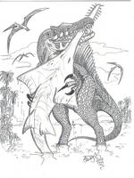 Fishing Spinosaurus by HodariNundu