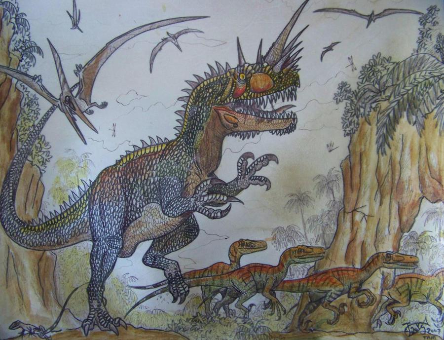 Saurocerastus and raptors by HodariNundu