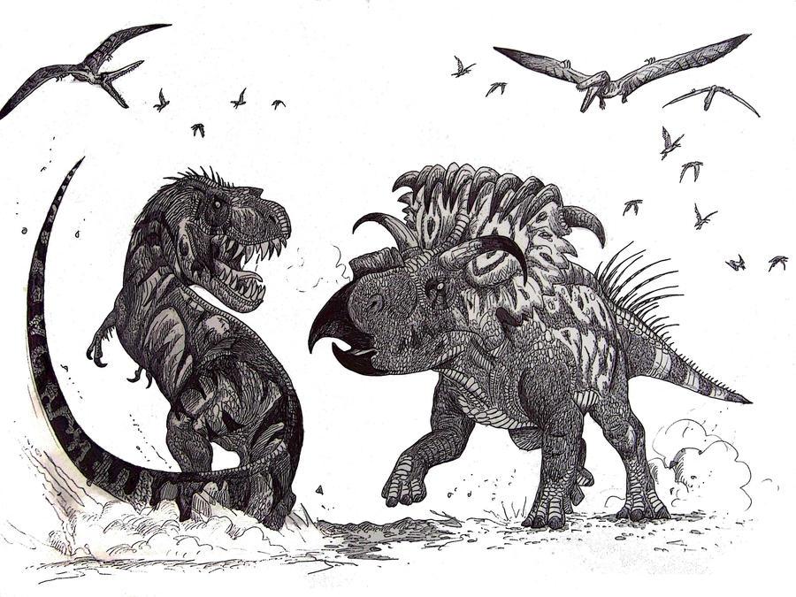 Kosmoceratops vs Teratophoneus by HodariNundu