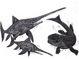 Eurhinosaurus vs Dakosaurus by HodariNundu