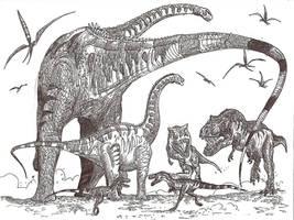 Alamosaurus hunt by HodariNundu