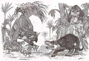 Psittacosaurus vs Repenomamus by HodariNundu