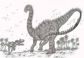 Amphicoelias vs Saurophaganax by HodariNundu