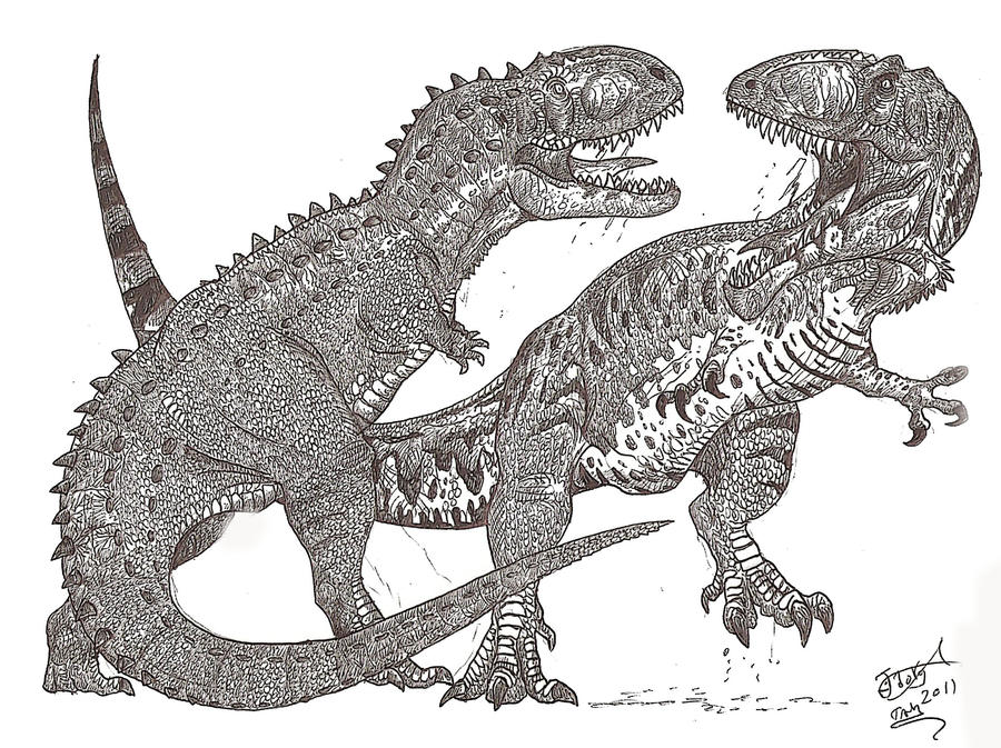 Ekrixinatosaur vs giganotosaur by hodarinundu on deviantart for Carcharodontosaurus coloring page