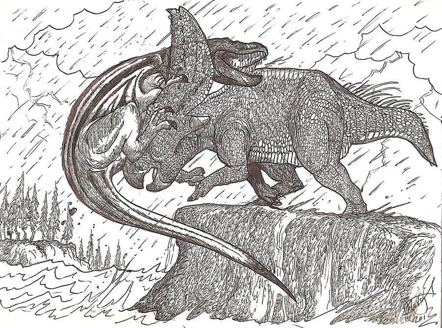 Dueling Dinos by HodariNundu
