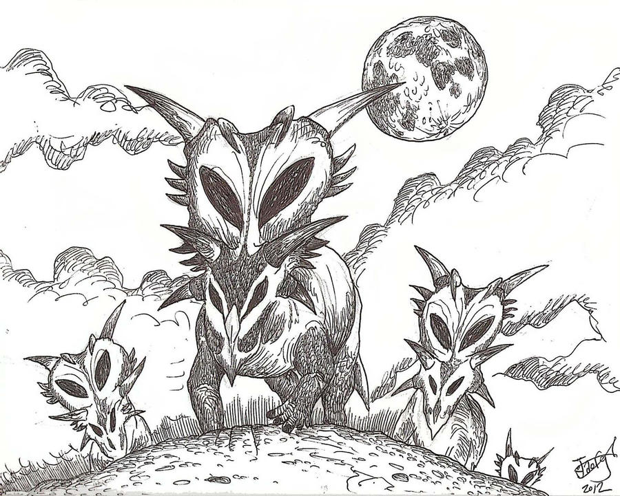 Alien Horned Face Invasion! by HodariNundu