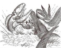 The Swimming Tyrant's Bloody Bite by HodariNundu