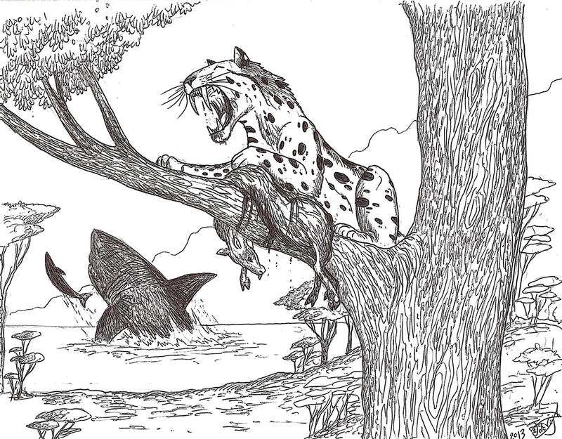 sabertooth cat coloring pages - photo#31