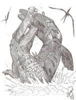 Monster Croc vs Giant Sea Lizard by HodariNundu