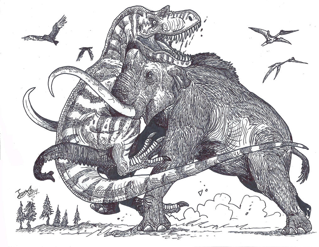 Mammoth vs Tyrannosaur by HodariNundu on DeviantArt