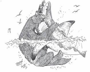 Sloth vs Shark by HodariNundu