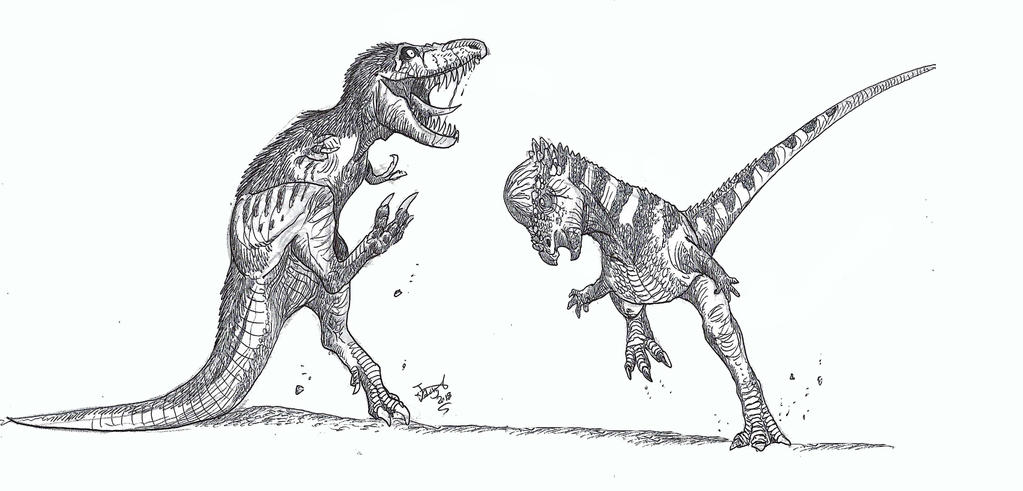 T. rex vs Pachy by HodariNundu