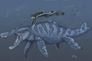 Diving with Sachicasaurus by HodariNundu