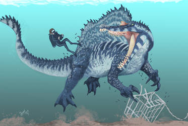 Diving with Spinosaurus! by HodariNundu