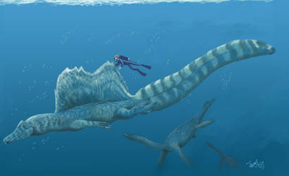 Diving with Spinosaurus