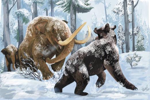 Commission- Mastodon vs Arctodus