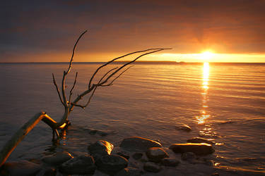 Setting Sun at Thessalon Point by tfavretto