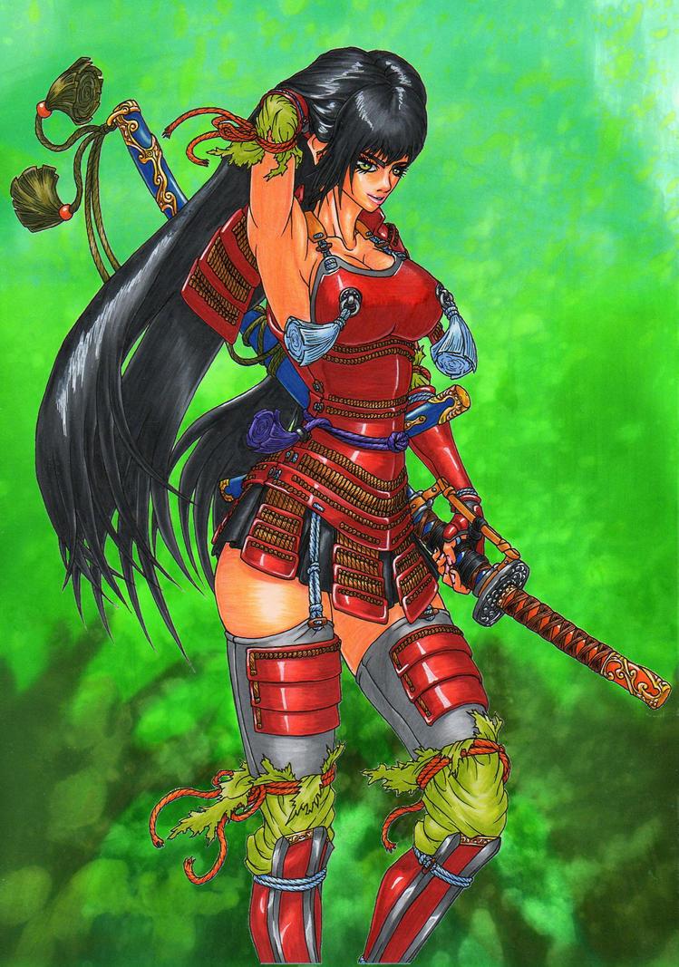SAMURAI girl of crimson armor by GunaSyuu on DeviantArt
