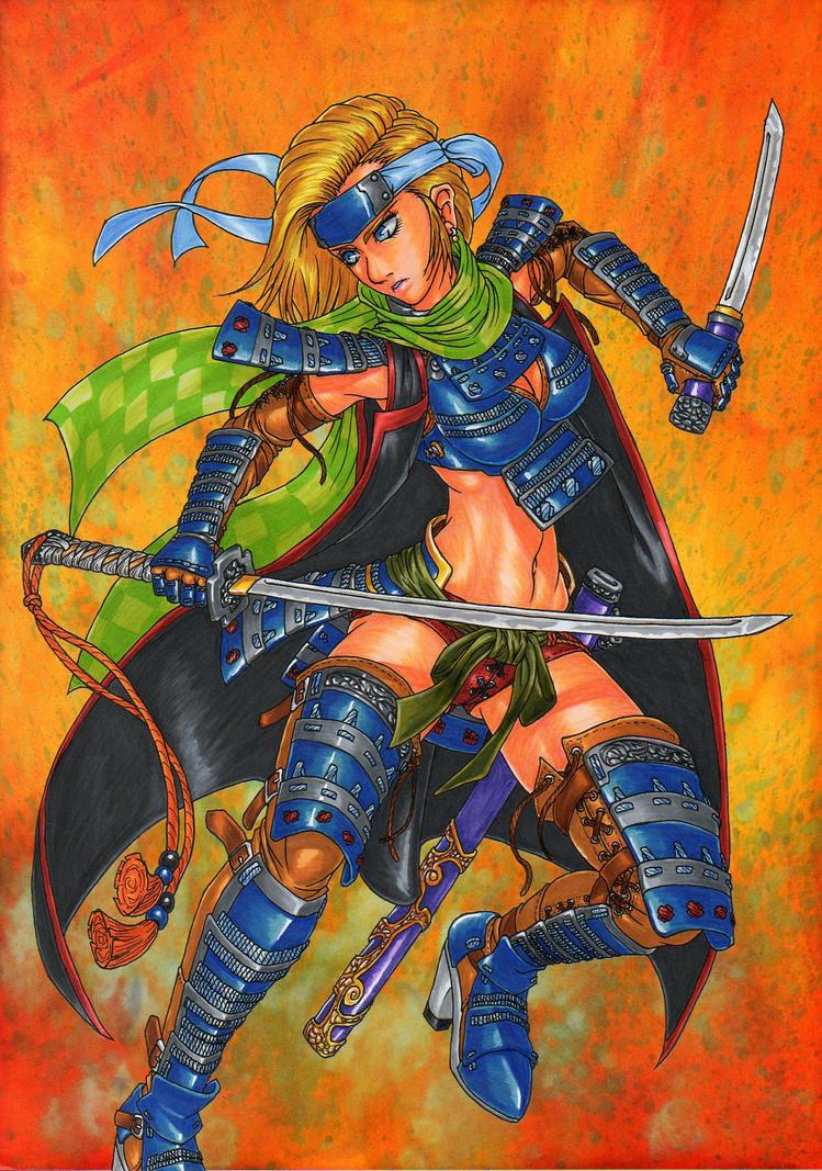 SAMURAI girl of blue armour by GunaSyuu on DeviantArt